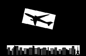 都市を飛ぶ飛行機のイラスト