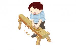 職業訓練 木工作業をするイラスト
