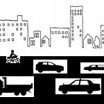 道路を走る車と建物のイラスト