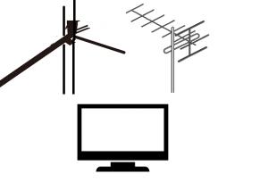 アンテナとケーブルとテレビのイラスト