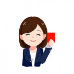 ペナルティカードを掲げる女性のイラスト