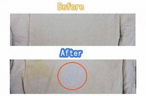 Tシャツに過炭酸ナトリウムと水にアイロンまたは高熱スチーマーをかける前とかけた後の比較写真