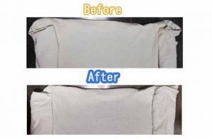 Tシャツの浸け置き(過炭酸ナトリウムと熱湯)する前と後の比較写真